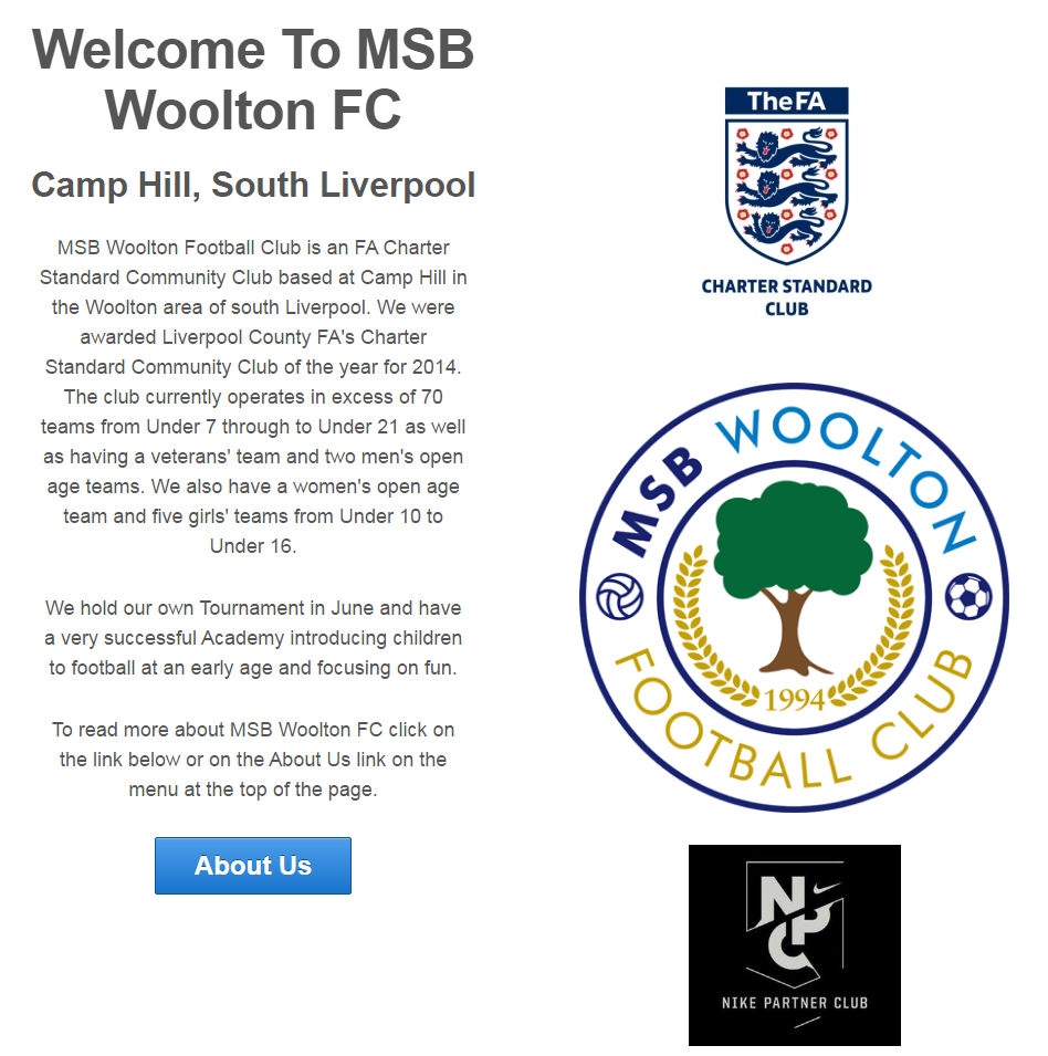 MSB Woolton Football Club A south Liverpool junior football club